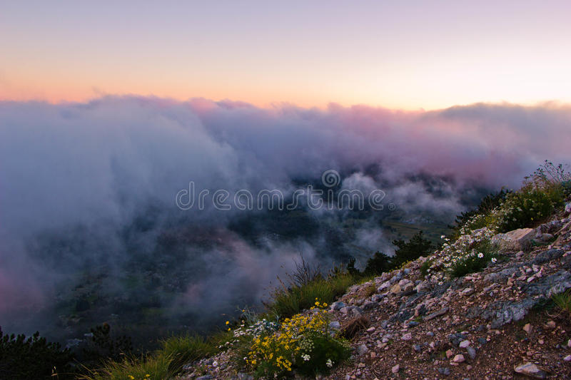 View of the clouds from the top of the mountain royalty free stock image