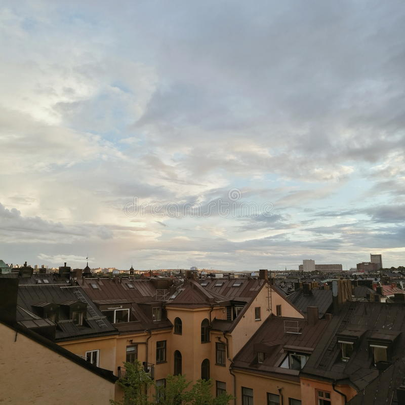 View on cloudy sky Stockholm center royalty free stock photography