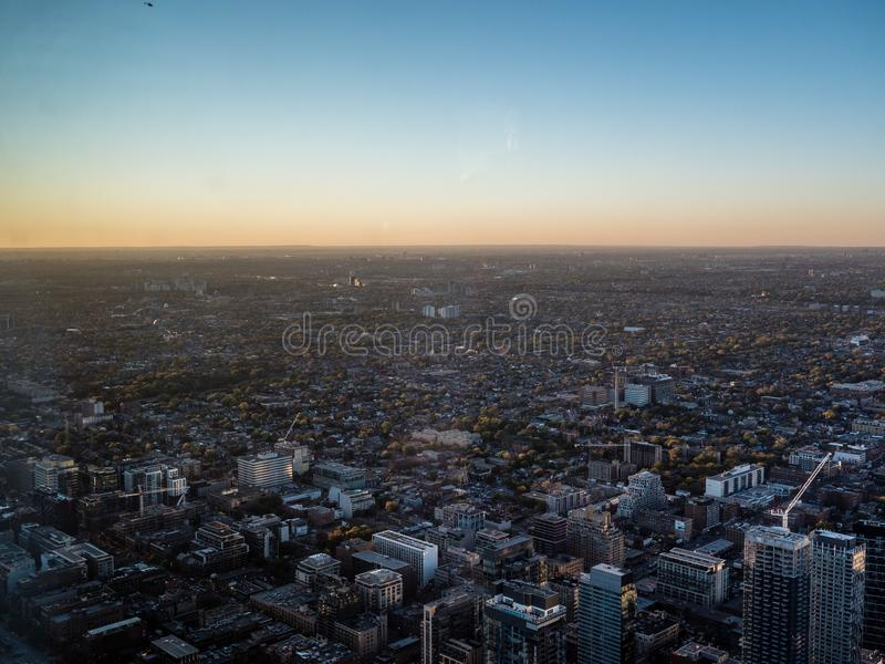 View from cn tower to suburbs of toronto canada royalty free stock image
