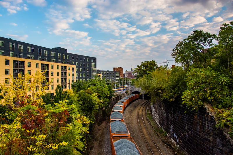 View of coal cars on railroad tracks in Baltimore, Maryland. royalty free stock images