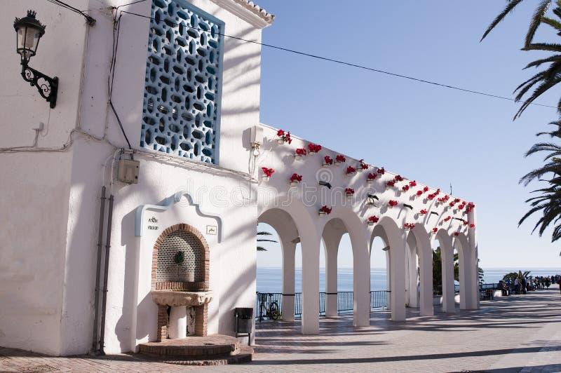 The Balcon de Europa in Nerja Spain. View of the coast from the Balcon de Europa in Nerja Andalucia Spain stock image