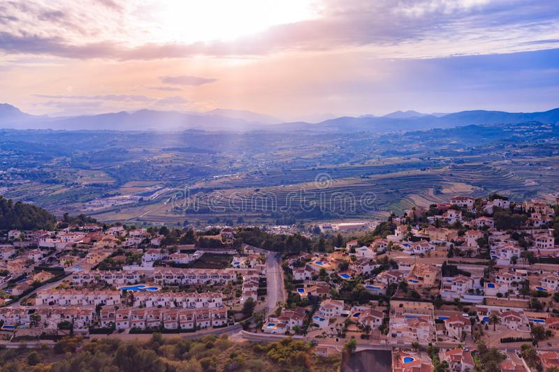 View of the coast of Cumbre del Sol at sunset, Costa Blanca, Spain.  royalty free stock image