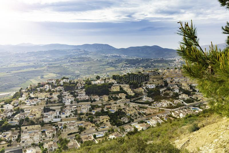 View of the coast of Cumbre del Sol at sunset, Costa Blanca, Spain.  royalty free stock photo