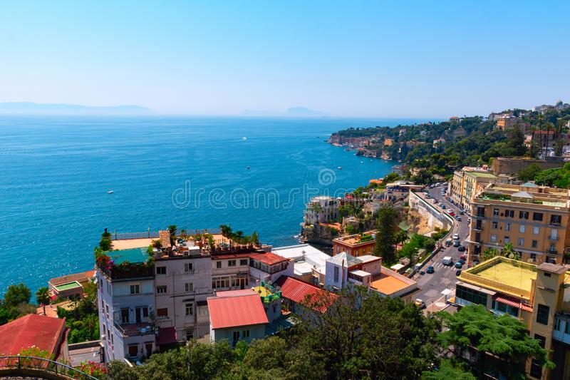 View of the coast of Naples on a clear sunny day. Italy, Europe. stock photo