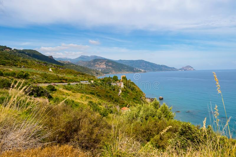 View of the coast near Cefalu in northern Sicily stock photo