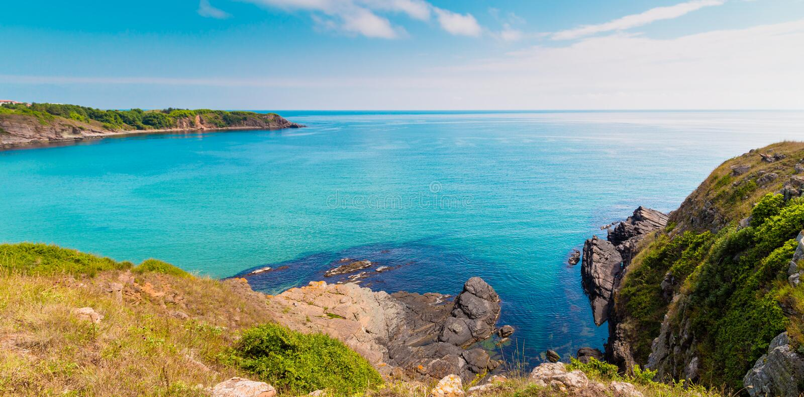 View of coast near Sinemorets in Bulgaria. royalty free stock photo