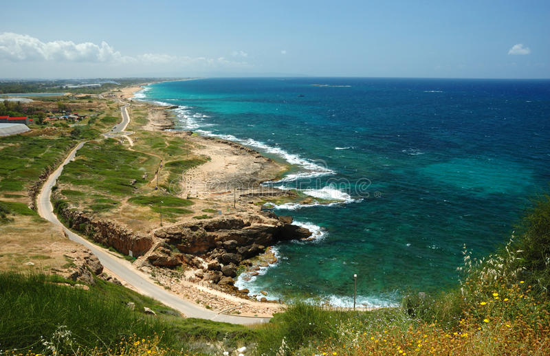 View of coast from Rosh HaNikra,Israel royalty free stock photo