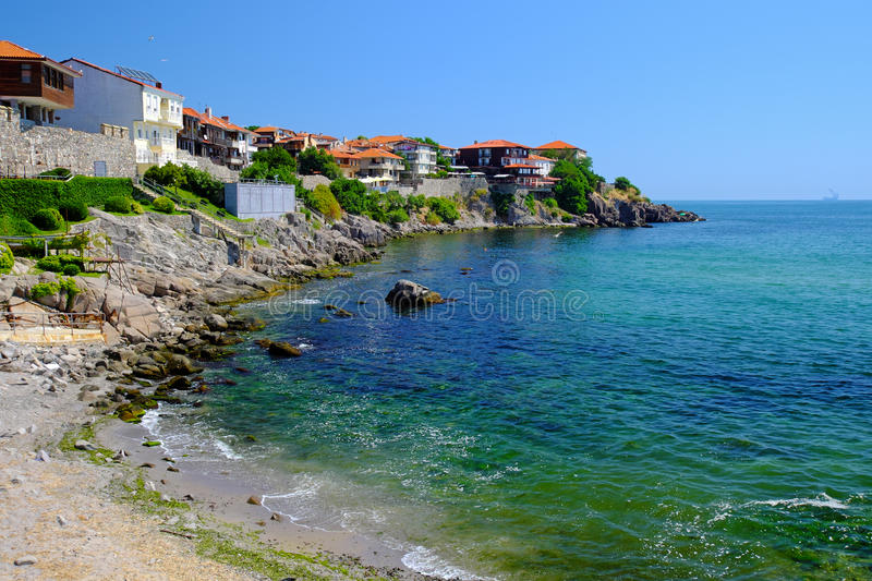 View of coast in town of Sozopol stock image