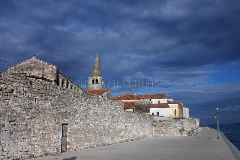View of coastal town of Porec in Croatia in the morning.  royalty free stock images
