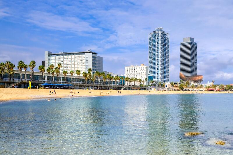 View of the coastline of Barceloneta Beach in Barcelona, Spain.  stock images