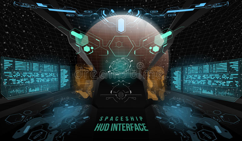 View from the cockpit spaceship. Head-up display elements for the Spaceship interface. Template UI for app and virtual vector illustration