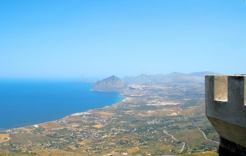 View of Cofano mount and the Tyrrhenian coastline from Erice (T. Italy, Sicily, view of Cofano mount and the Tyrrhenian coastline from Erice (Trapani stock photography