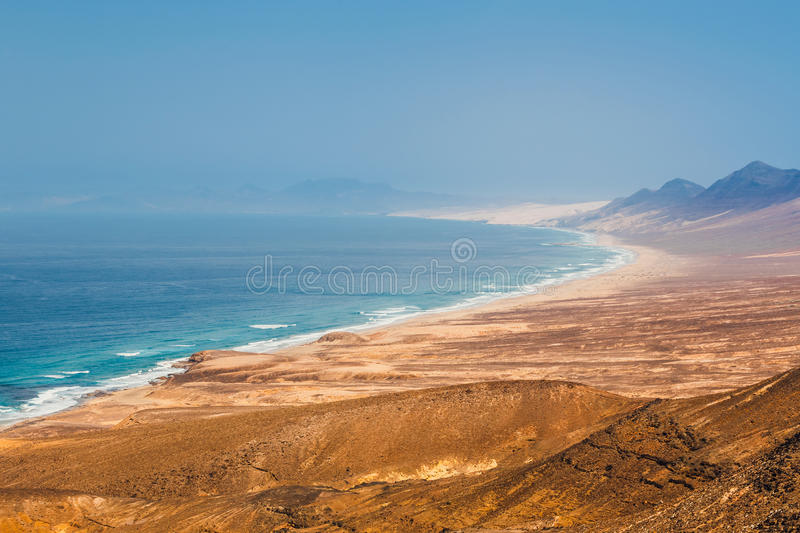 Cofete beach in Fuerteventura Island, Spain stock photography