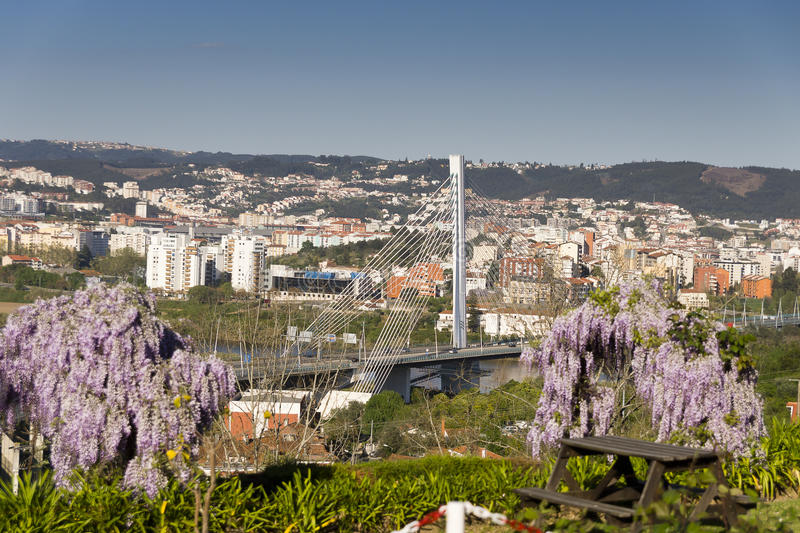 View Coimbra Portugal. View of Coimbra from river Mondego Portugal stock photography
