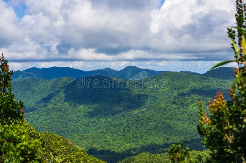 View from Col des Mamelles over Base-Terre, Guadeloupe royalty free stock images