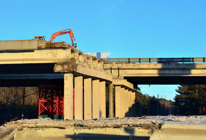View of the collapsed, collapsed, emergency bridge of the highway. Danger zone at the construction site royalty free stock photo