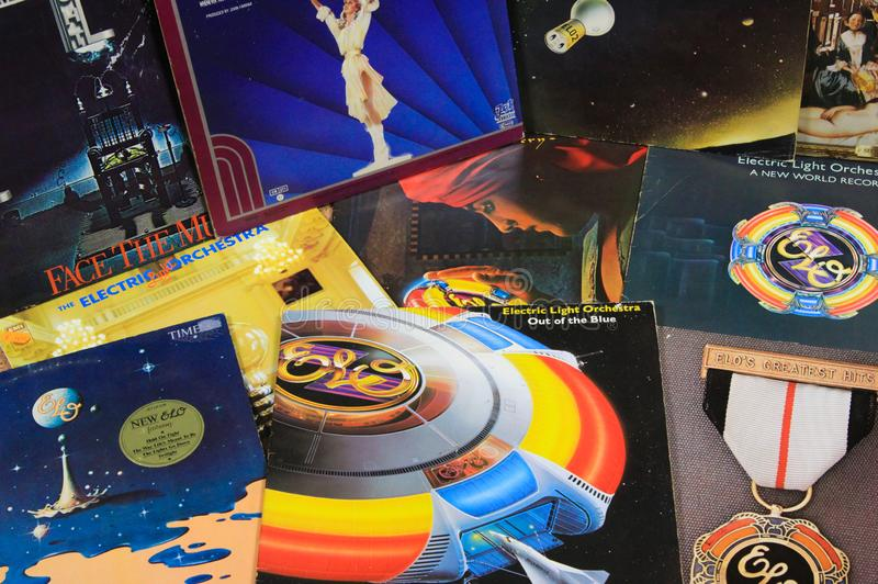 View on collection of ELO Electric Light Orchestra retro vinyl records stock images