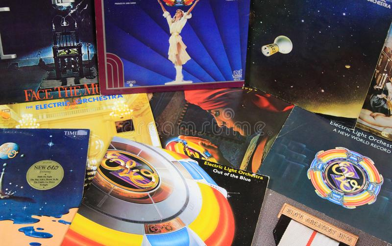View on collection of ELO Electric Light Orchestra retro vinyl records stock image