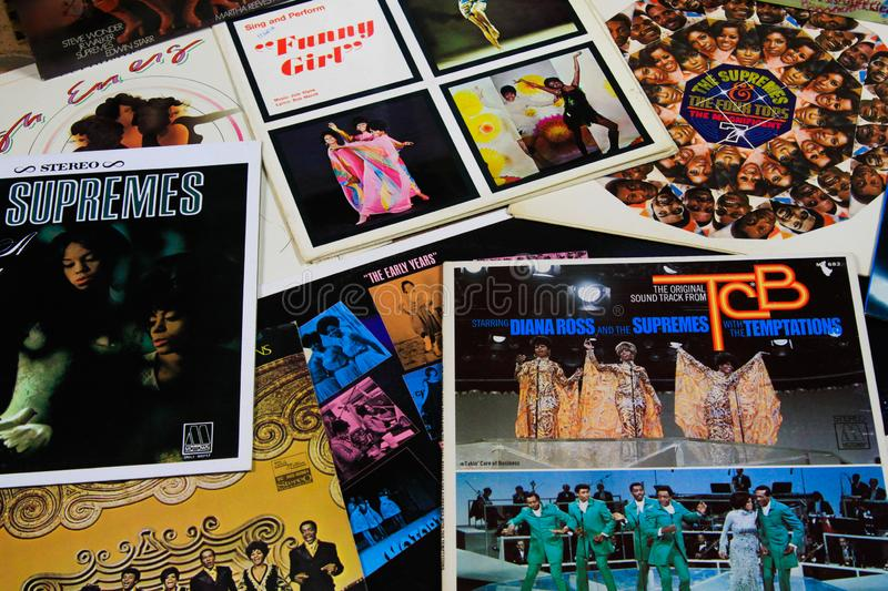 View on collection of vintage vinyl records from Diana Ross and The Supremes stock photography