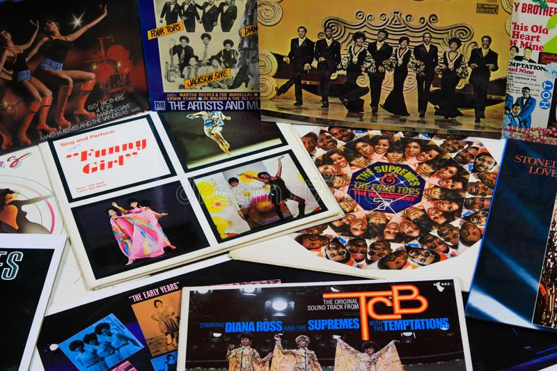 View on collection of vintage vinyl records from Diana Ross and The Supremes royalty free stock image