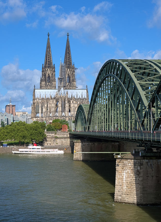 View on Cologne Cathedral and Hohenzollern Bridge royalty free stock photos