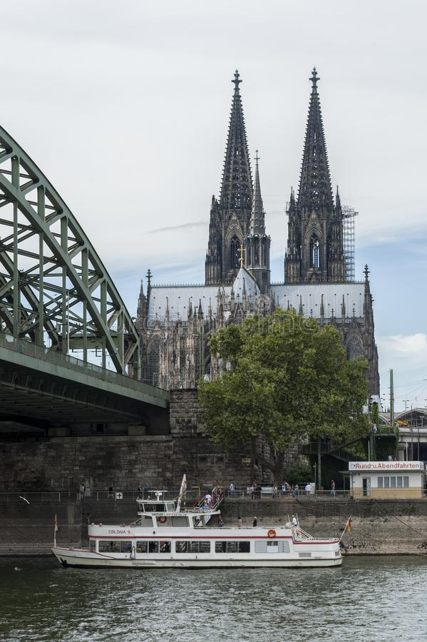 View of Cologne Cathedral Kolner Dom and Rhine river under the Hohenzollern Bridge - Cologne royalty free stock image
