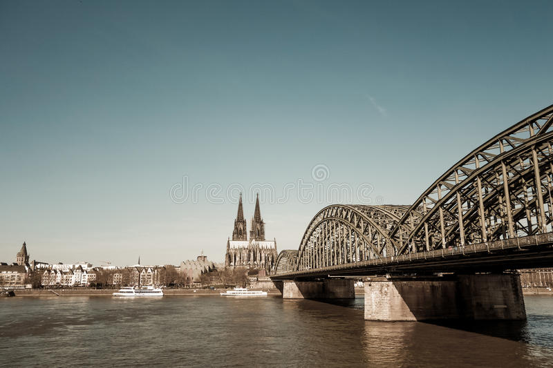 View on Cologne Cathedral and river Rhine stock images