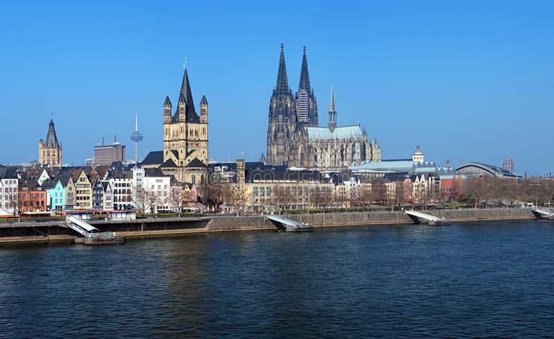 View on Cologne from the Rhine river, Germany stock photo