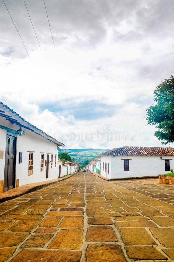 Colonial buidlings in the streets of Barichara - Colombia royalty free stock image