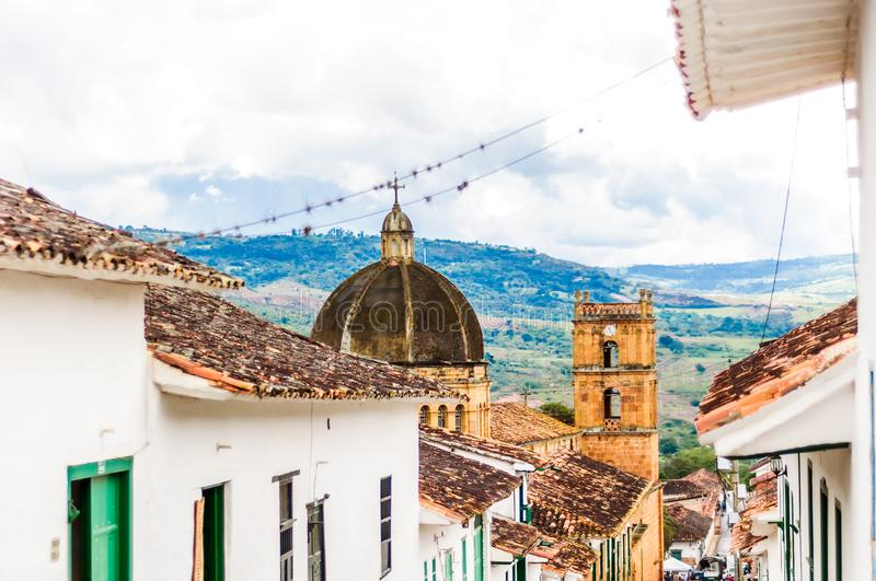 Colonial buidlings in the streets of Barichara - Colombia royalty free stock photos