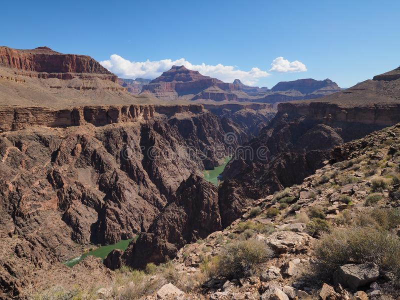 Grand Canyon National Park, Arizona. View of the Colorado River and the inner canyon from the Tonto Trail in Grand Canyon National Park, Arizona stock photo