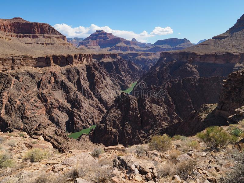 Grand Canyon National Park, Arizona. View of the Colorado River and the inner canyon from the Tonto Trail in Grand Canyon National Park, Arizona stock photography