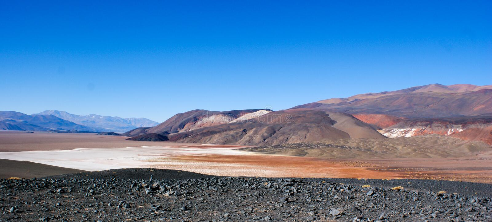 View of the colored hills and mountains of Antofagasta De La Sierra, Argentina royalty free stock photos