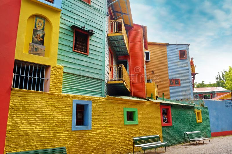 View of colorful buildings in Caminito of the Argentinean district La Boca, in Buenos Aires, with vintage walls against stock images