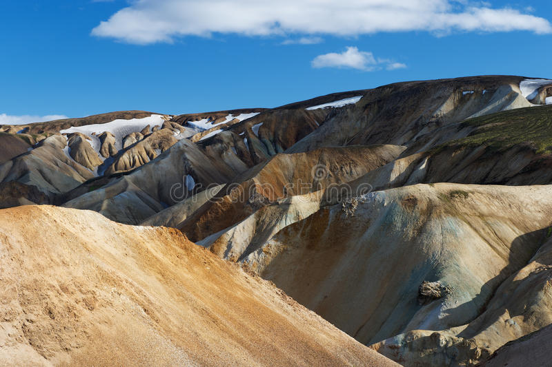 View of colorful hills in Landmannalaugar area on a sunny summer stock photo