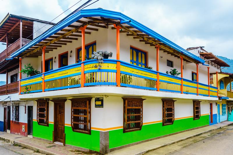 View on colorful Houses In Colonial City Jardin, Antoquia, Colombia, South America. Colorful Houses In Colonial City Jardin, Antoquia, Colombia, South America royalty free stock photo