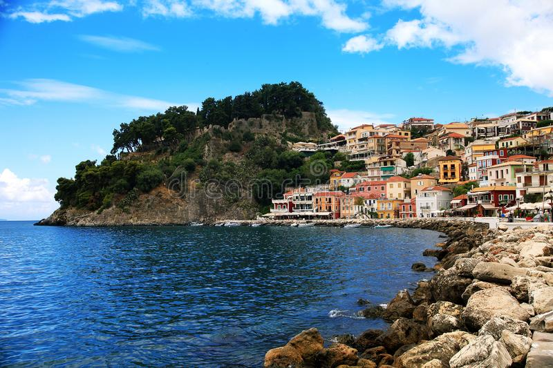 View of colorful houses and fortress in beautiful Parga royalty free stock photography