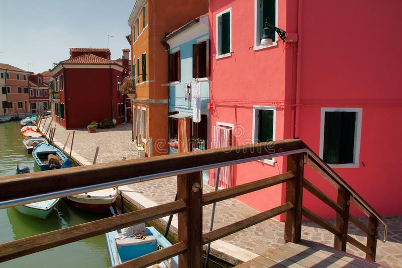View of colorful houses and street in the Burano Venice Italy stock image