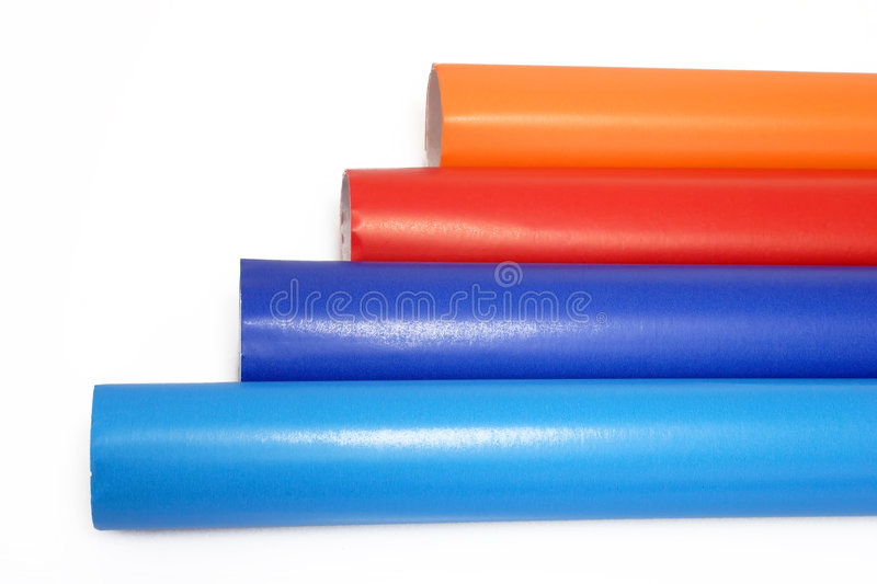 A View Of Colorful Rolls Of Gift Wrapping Paper Royalty Free Stock Image