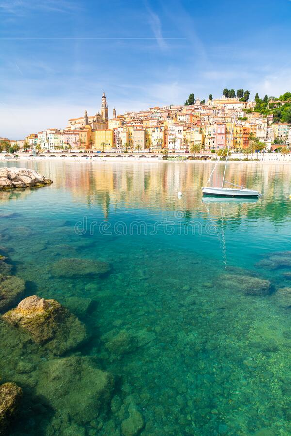 View on colorful town of Menton, Provence-Alpes-Cote d`Azur, France royalty free stock photo
