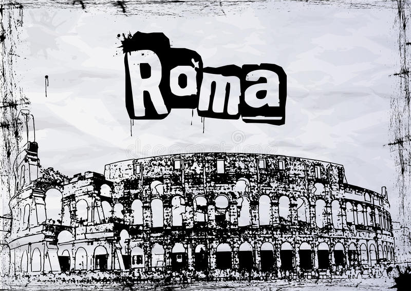 Download View Of The Colosseum Amphitheater In Rome Stock Illustration - Image: 30345734