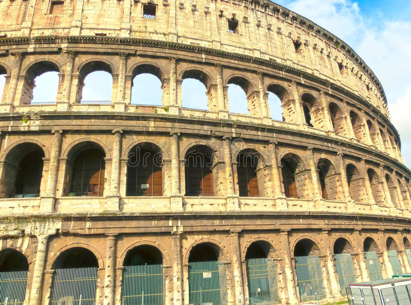 View of Colosseum in Rome and morning sun, Italy royalty free stock photos