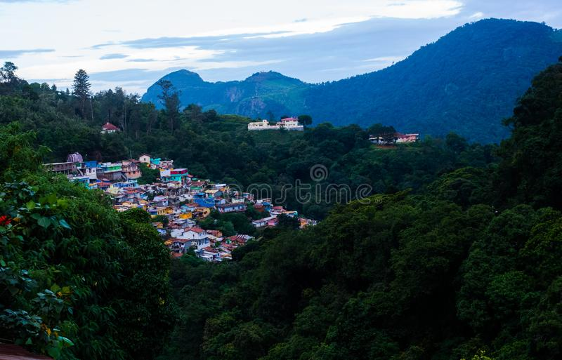 Colourful houses in Coonoor Town, Tamil Nadu royalty free stock photos