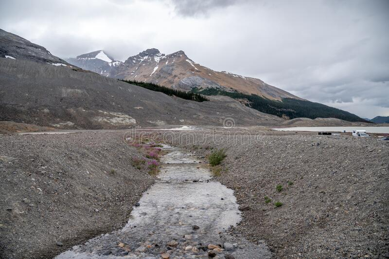 View of the Columbia Icefields in Jasper National Park stock photography