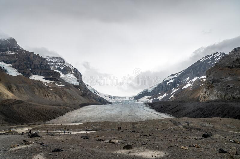 View of the Columbia Icefields in Jasper National Park stock photos