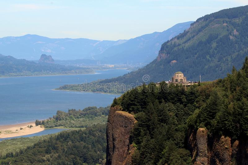 Columbia River Gorge with Vista House stock photography