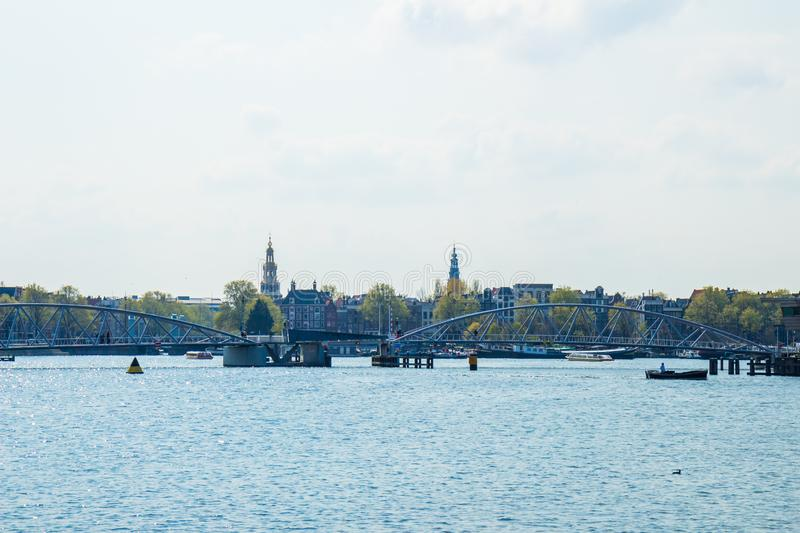 View from Commandants Bridge over `t IJ, Amsterdam, the Netherlands royalty free stock images