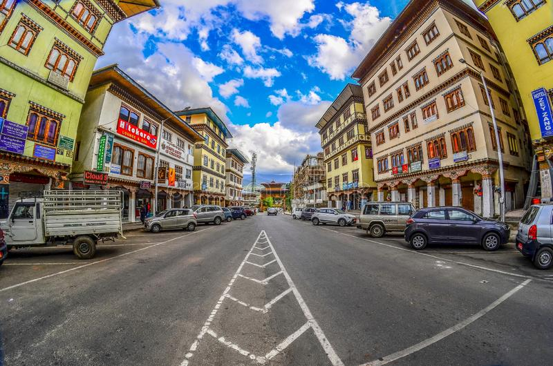 View of Commercial area ' s Thimphu city in Bhutan during spring season royalty free stock images