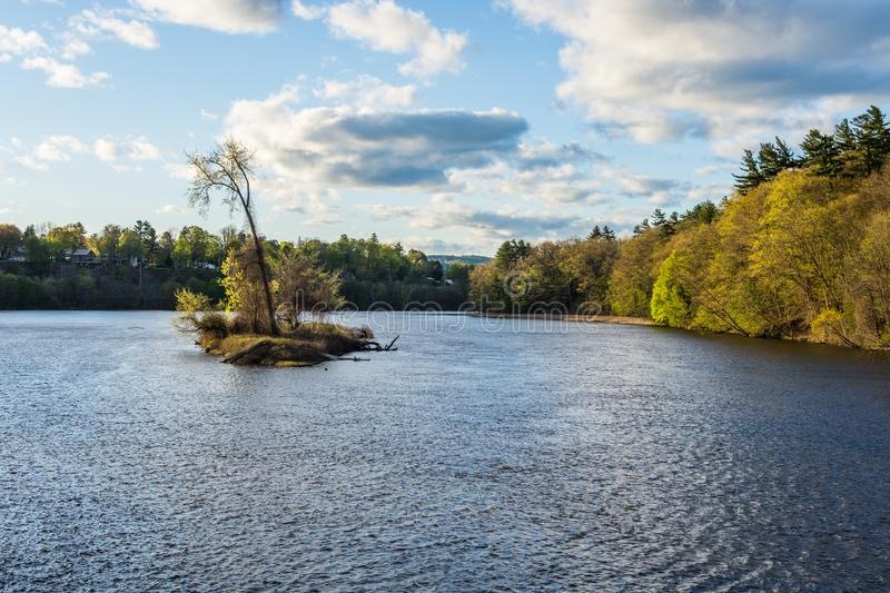 View of the Connecticut River From Brattleboro Vermont State Lin. E next to New Hampshire stock photography