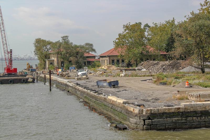 View of constraction zone on Ellis island. Historical places background. USA. New York stock photos